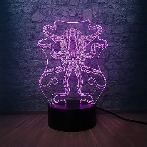 3D LED Pulpo Sepia RC Mundo submarino Fish USB Lámpara LED Luz nocturna de 7 colores con cambio de color Lámpara Regalo para niños