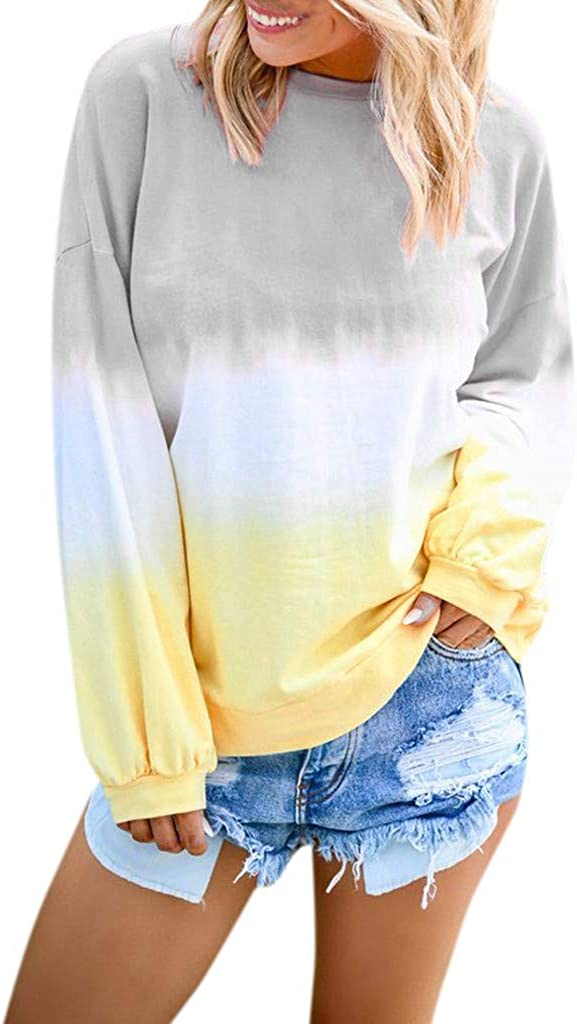 felwors Pullover Tops for Women, Womens Casual Gradient Printed Sweatshirt Crewneck Long Sleeve Loose Pullover Tops
