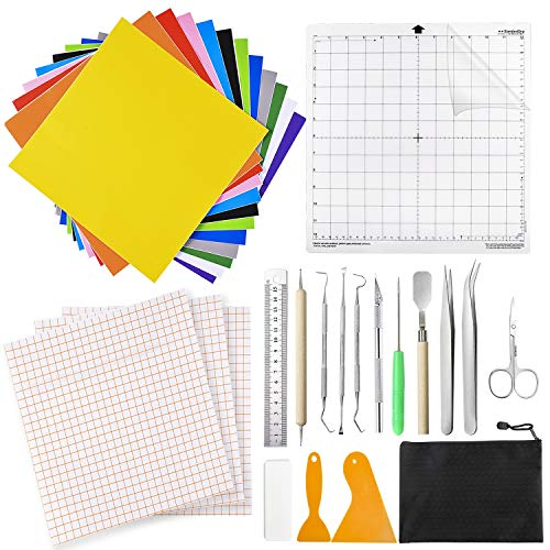 Dorhui 31 Pieces Craft Vinyl Weeding Tools, Craft Basic Set with Adhesive Backed Vinyl Sheets Transfer Tape Standard Grip Cutting Mats Makes Brighter for Vinyl, Silhouettes, Cameos, Lettering