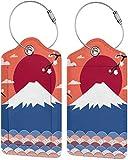 Montura de gatito colorido Fuji con Sakura Lage Tags bolsa de piel sintética para maleta, diseño de etiquetas de viaje con cubierta trasera de privacidad con bucles de acero