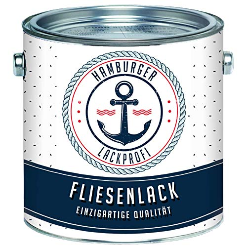 Fliesenlack MATT Perlweiß RAL 1013 Weiß Fliesenfarbe im SET // Hamburger Lack-Profi (1 L)