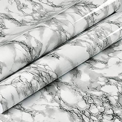 Película de vinilo de mármol Autoadhesivo Papel pintado impermeable para baño Cocina Armario Encimeras Papel de contacto PVC Pegatinas de pared 80cm * 5m