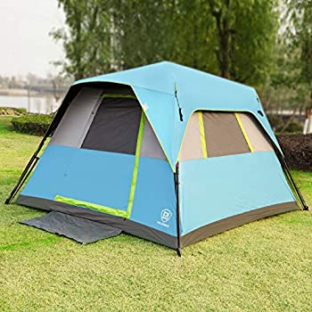 EVER ADVANCED Darkroom Instant Cabin Tent 6 Person Camping Tents for Family with Rainfly 60s Easy Setup Water-Resistant Blue