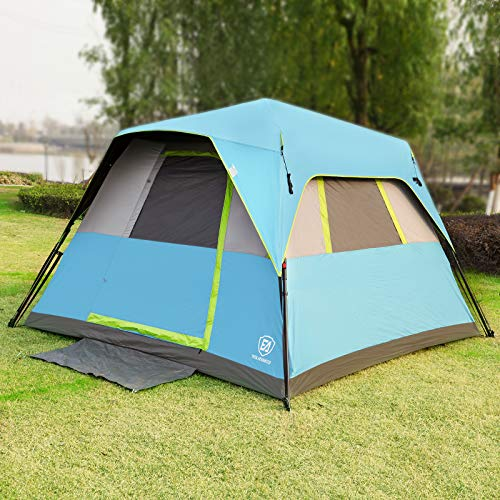 EVER ADVANCED Instant Cabin Tent 6 Person with Rainfly, 60s Easy Setup, Portable Waterproof Weather-Proof Tents for Family Camping, Great Ventilation, Electrical Cord Access Port and Door Mat,Blue