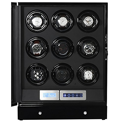 Arcanent 9 + 2 Slot Watch Winder LCD Digital Black Quality Made w/Ball Bearings Japanese Motors with Door Sensor 4