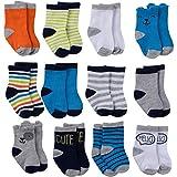 Onesies Brand Baby 12-Pair Bootie Socks, Dog Crew Socks, 6-12 Months