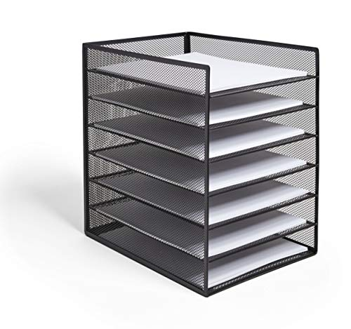 TRU RED TR57565-CC 6 Compartment Wire Mesh File Organizer, Matte Black