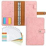 Housolution Carpeta de Cuaderno de 6 Anillas, Cubierta de Hojas Sueltas de Cuero de PU con 12 Sobres para Carpetas Papel de Etiquetas, Notas Adhesivas - Rosa