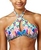Bar III Women's Feather Daze Crossover High-Neck Halter Bikini Top (Multi, X-Large)