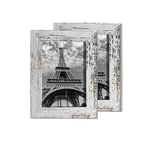 SSyang 2 Piezas 13x18 cm Marcos de Fotos Rústicos de Madera Vintage...