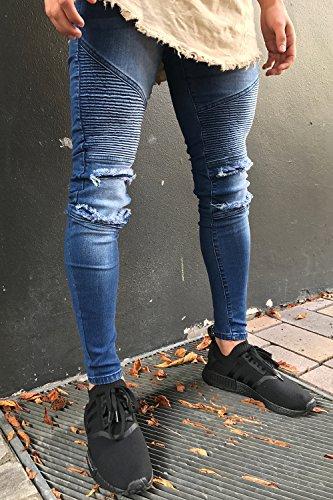 Men's Biker Skinny Distressed Ripped Slim Washed Denim Jeans