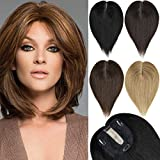 EMERLILY Human Hair Toppers Hair Pieces for Women with Thinning Hair 12 Inch Clip in Crown Topper Hair Extensions Real Wiglet Hair Pieces for Women Dark Brown