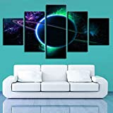 Rudxa Pintura sobre Lienzo Cosmic Planet Landscape Wall Art Poster Grande Set Picture Living Room Decor Artwork- 5 Piezas sin Marco