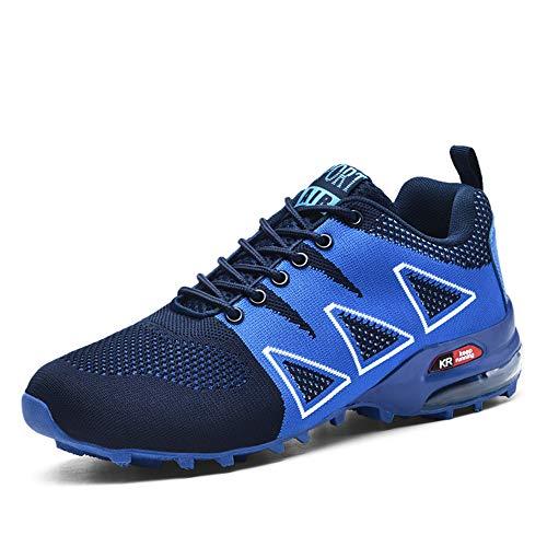 WYFC Unisexe Hommes Multisports Chaussure De Course Air Casual Multi Sports De Marche Formateurs Mesh Légers Espadrilles Jogging Chaussures De Fitness,Blue,47