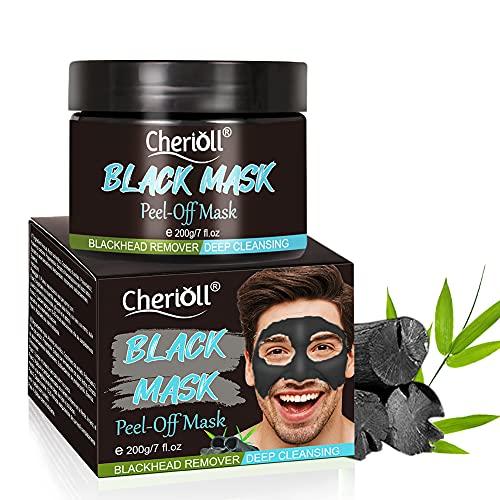 Black Mask, Mitesser Maske, Peel off Maske,For MEN Black Mask,Charcoal Mask for Men, Entfernt Mitesser, Tiefenreinigung, Mit Aktivkohle | Schwarze Maske zum abziehen - Blackhead Maske, 200g