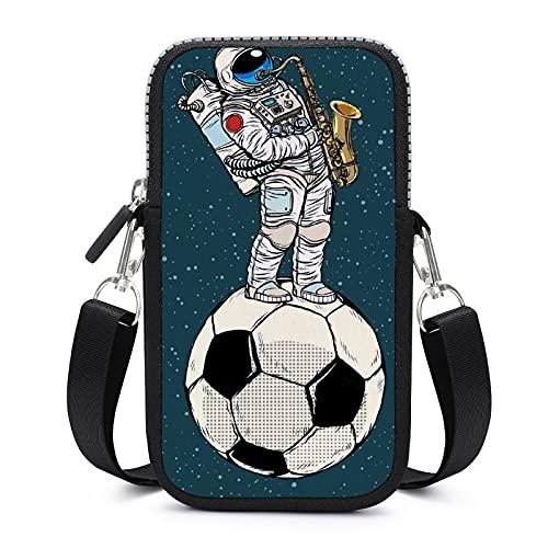 Bolso bandolera para teléfono móvil con correa de hombro extraíble astronautas en el fútbol funda anticaída para el brazalete del teléfono, cartera para correr, bolsos para niños