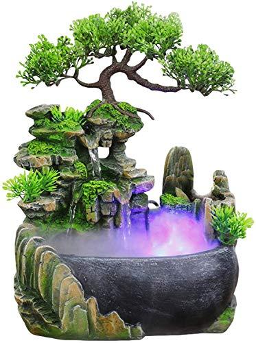 Fuente interior y exterior, mesa de cascada, decoración de la fuente, función de agua con cambio de color, iluminación led, cascada de meditación zen,15cm*20cm*28cm