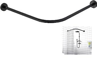 Adjustable Curved Shower Curtain Rod, Extendable Tension Pole Curved l-Shaped Curtain Rail Poles Bath Curtain Rail Bar, No...