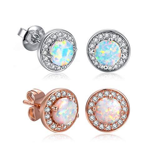 DwearBeauty Womens Earrings Stud Cubic Zirconia and Opal Earrings Combo 2-Pair Pack