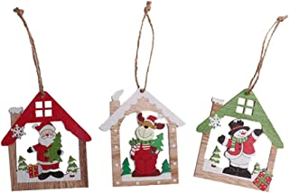 Amosfun 3PCS Christmas Wooden Hanging Ornaments Santa Snowman Elk Hollow House Carving Wood Slice Gift Tags Pendant for Xmas Tree Home Garden Yard