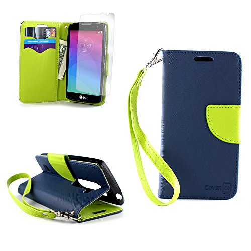 CoverON for LG Leon Tribute 2 Risio Case Wallet Case [Carryall Series] Flip Credit Card Phone Cover Pouch - Navy Blue & Neon Green - with Screen Protector and Wristlet Strap