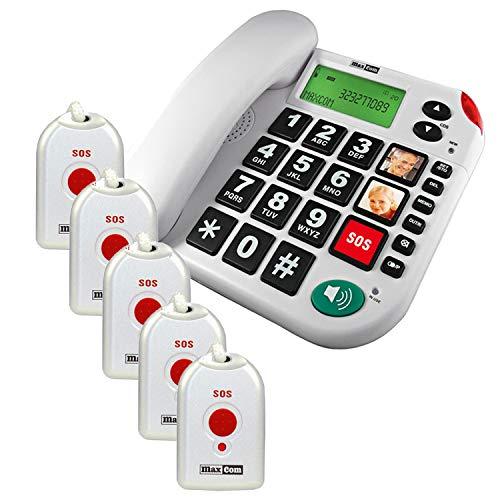 Maxcom KXT481SOS: Seniorentelefon mit Funk Notruf Sender und großen Tasten extra laut schnurgebundenes Festnetztelefon mit 5X Notrufknopf und Adapterstecker Hausnotruf für Senioren