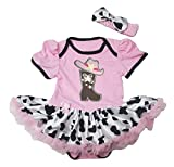 Petitebella Cowgirl Boot and Hat Pink Bodysuit Cow Tutu Baby Dress Nb-18m (6-12month)