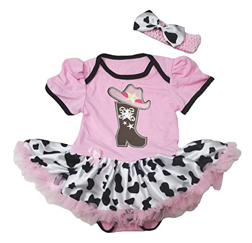 Petitebella Cowgirl Boot and Hat Pink Bodysuit Cow Tutu Baby Dress Nb-18m (3-6month)