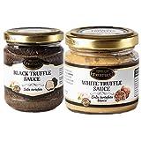 Trufa Negra Tuber aestivum salsa de comida gourmet de lujo, ideal para carne, pasta, risotto 80g y Trufa blanca Tuber borchii Pasta de salsa de comida gourmet 80g