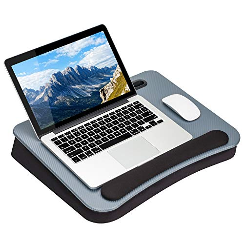 LapGear Smart-E Pro Lap Desk - Silver Carbon - Fits up to 17.3 Inch Laptops and Most Tablet Devices - Style No. 91365