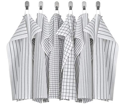 Ikea RINNIG - Paño de cocina (45 x 60 cm), color blanco y gris oscuro