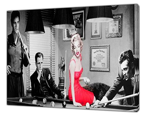 Kunstdruck auf gerahmter Leinwand Elvis Presley Marilyn Monroe James Dean Snooker, Stoff-Leinwand, 34'' x 24''inch(86x 60 cm) -38mm depth
