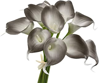 Angel Isabella, LLC 20pc Set of Keepsake Artificial Real Touch Calla Lily with Small Bloom Perfect for Making Bouquet, Boutonniere,Corsage (Smoke Silver Grey)