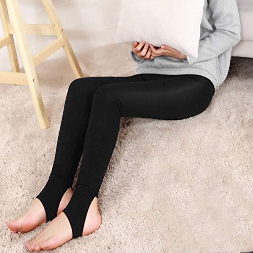 Sunnyflowk Leggings de mujer Uterus Calentamiento Rodilleras Gorras de rodilla Pantalones pitillo femeninos Pantalones de corte delgado para el invierno Cálido Levantamiento de cadera (negro + dorado)