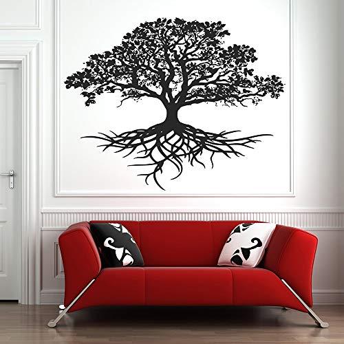 YuanMinglu Lebensbaum Wandaufkleber Aufkleber Tribal Circle Life Root Branch Vogelhaus Wandaufkleber Schwarz 102X80CM