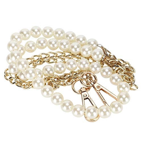 Pssopp Pearl Handle Chain, Imitation Pearl Bead Handle Bag Chain, Replacement Bag Chain for Handbag Purse Wallet Crafts Making