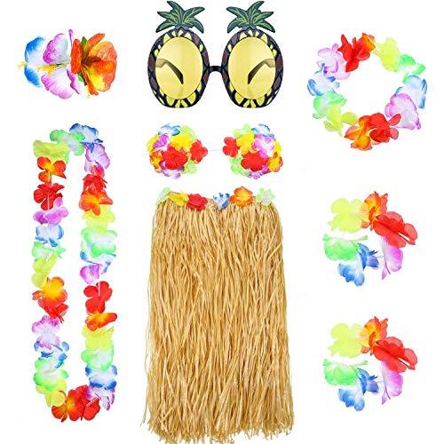 REYOK 8Pcs Hula Grass Skirt with Flower Leis Costume Set,Hawaiian Hula Grass Rock Set mit Halskette Armbänder Stirnband Blume BH Haarspange und Ananas Sonnenbrille Party Dekoration