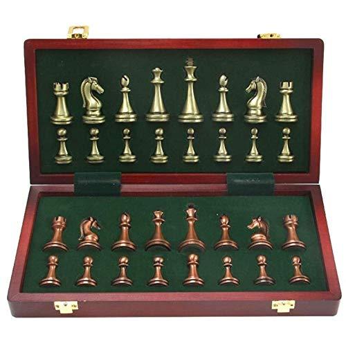 GLXLSBZ Juego de ajedrez Grande de Metal Delux Retro de aleación Chapado en Cobre Juego de ajedrez para Adultos Caja de Madera portátil Juego de Almacenamiento Rompecabezas Entertai