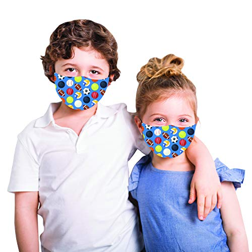Snoozies Kids Face Mask - 1 Cloth Face Mask for Kids with Filter Pocket + 4...