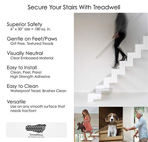 """Treadwell Clear Comfort Adhesive Non Slip Stair Treads. Grit-Free, Non-Abrasive, PVC-Free Pre-Cut Safety Tape Prevents Slips and Falls. (3, 6"""" x 30"""")"""