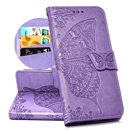 QPOLLY Kompatibel mit LG K40 Handyhülle Tasche Hülle Flip Hülle im Bookstyle PU Leder Magnetisch Schutzhülle Kartenhalter Geldbörse Folio Klapp Ledertasche mit Standfunktion,Helles Lila