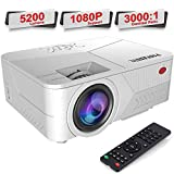Pansonite Mini Projector 5200 Lumens Projector for Outdoor Movies Support 1080P and Max.200'' Display,Compatible with TV Stick/iPhone/Android/PS4/Switch/HDMI/VGA/AV/USB(White)