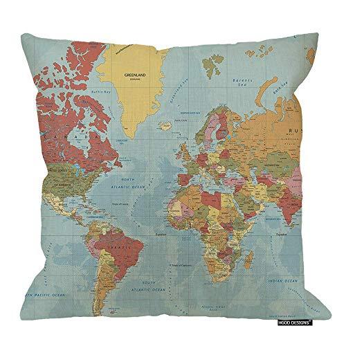Funda de cojín con diseño de mapa político detallado en Mercator Proyection algodón lino poliéster decorativo decoración del hogar, sofá, silla de escritorio, dormitorio, 45,7 x 45,7 cm