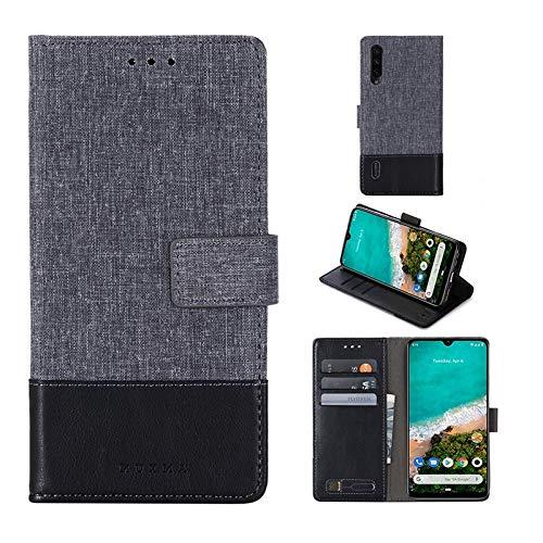 THENGGUIFANG PHONE Case Avanzata telefoon voor Caso Xiaomi A3 Premium, leren zeil magnetische trillingen van de map met de fessure voor papier en stof Holder Cover, Zwart