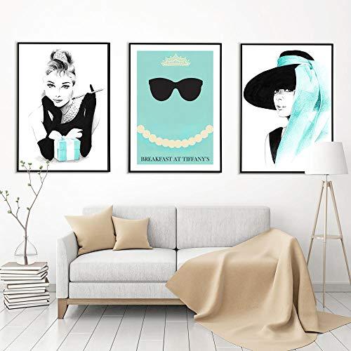 brandless Frühstück bei Tiffany Nordic Poster Leinwand Malerei Wandkunst Bilder für Wohnzimmer Modern Decorative No Frame 50x70cmx3