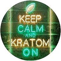 Keep Calm and Kratom on Dual Color LED看板 ネオンプレート サイン 標識 緑色 + 黄色 400 x 600mm st6s46-i3213-gy