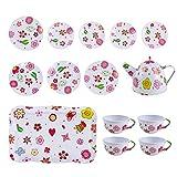 deAO 14-teiliges Rollenspiel-Teeset aus Druckguss und tragbare Tragetasche (weißes Teeset für Kinder)