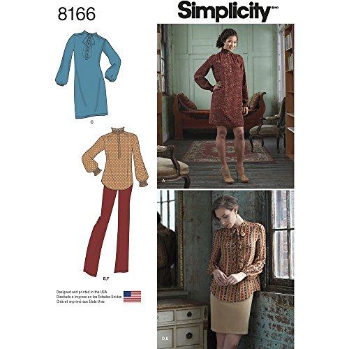 Simplicity patroon 8166 damesjurk of tunica, rok en broek, wit