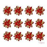 Anyingkai 12pcs Flores Navidad Artificiales,Flores de Pascua Navidad,Flor de Simulación Navideña,Flor Navideña Brillanteflores Navidad (Rojo Dorado)