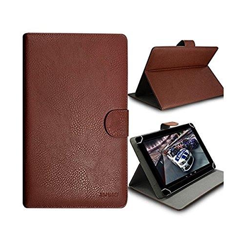 Seluxion-Funda universal con tapa y función atril para tablet Storex Looney Tunes Tab7 color marrón